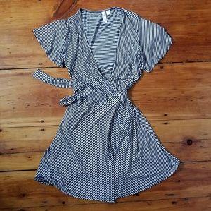 Francesca's stripe flutter sleeve wrap dress